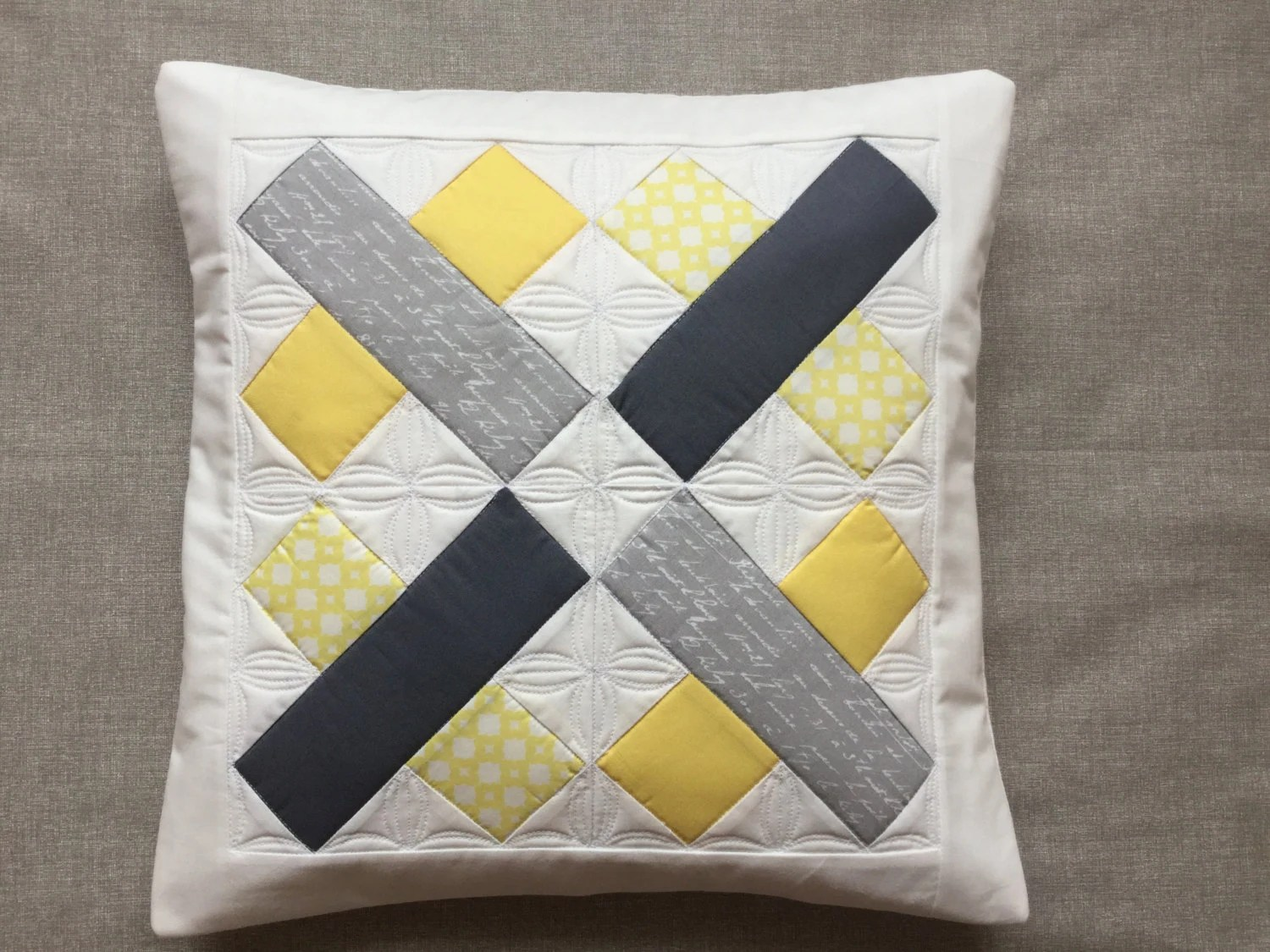 Best Yellow And Grey Pillow Quilted Throw Pillow Quilted Pillow This Month