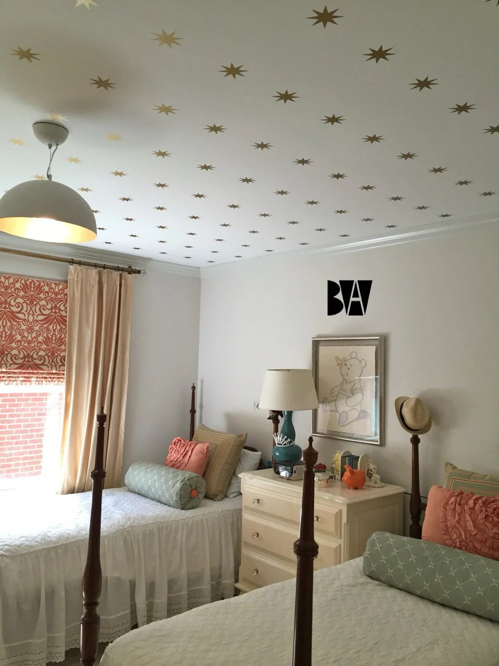 Best Gold Star Ceiling Decals Geometric Wall Decor Gold Vinyl This Month