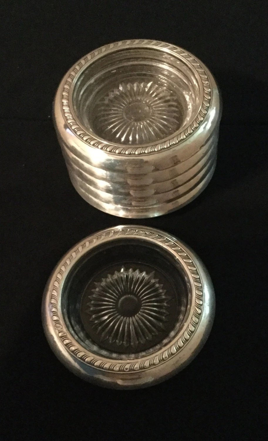 Best Sterling Silver Glass Decorative Coasters Vintage Coasters Set This Month