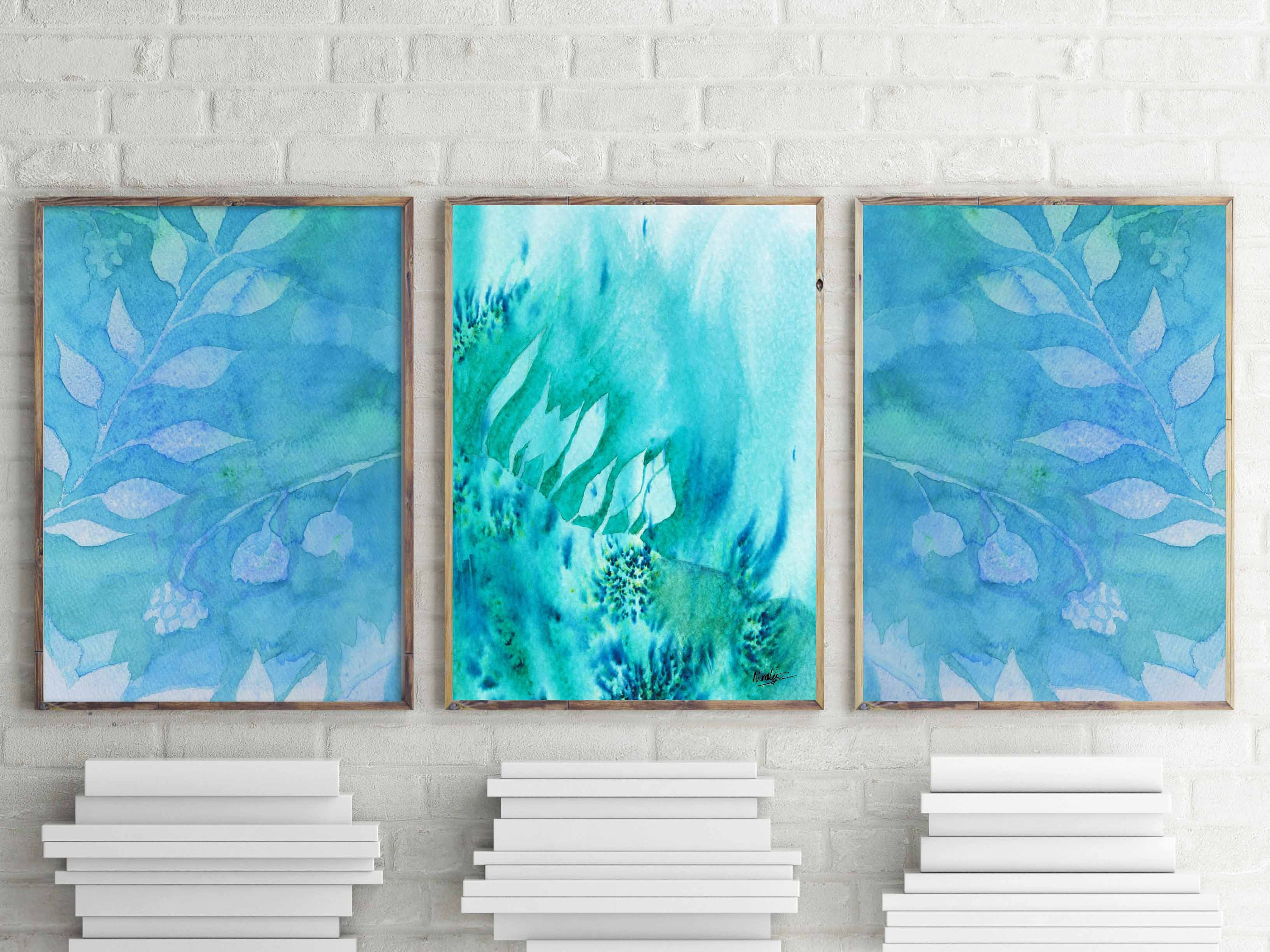 Best Teal Wall Art Home Decor Watercolor Wall Decor Teal Watercolor This Month