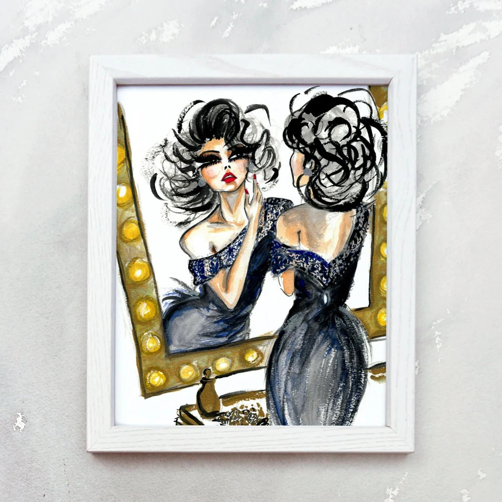Best Glam Wall Art Fashion Illustration Prints Vanity Wall Art This Month