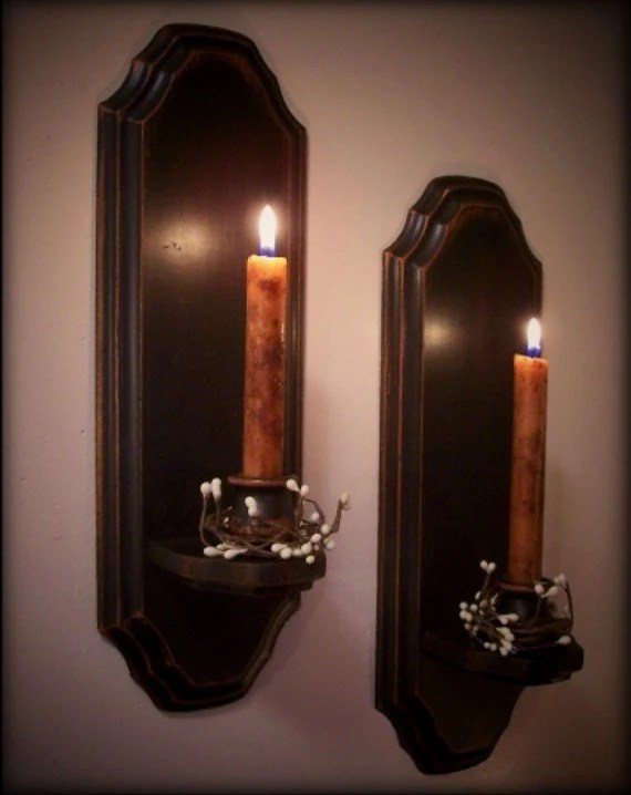 Best Vintage Colonial Candle Sconce Pair Wooden Wall Decor Candles This Month