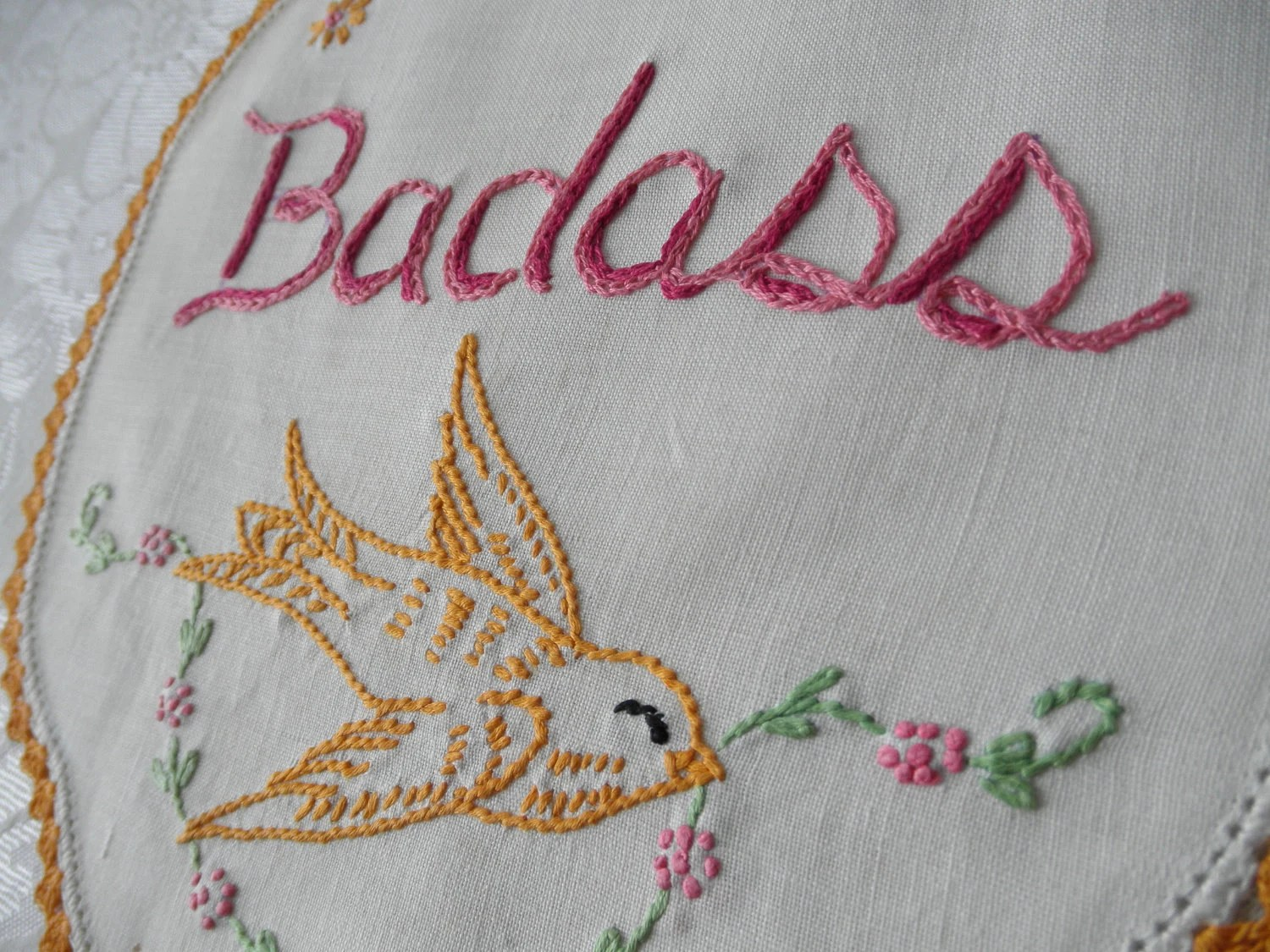 Best Badass Embroidered Art Upcycled Ooak Home Decor By This Month