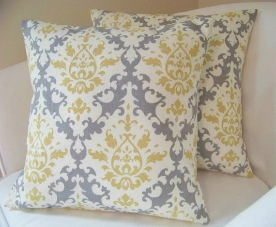 Best Set Of Two Damask 16 Inch Pillow Covers Grey Yellow This Month