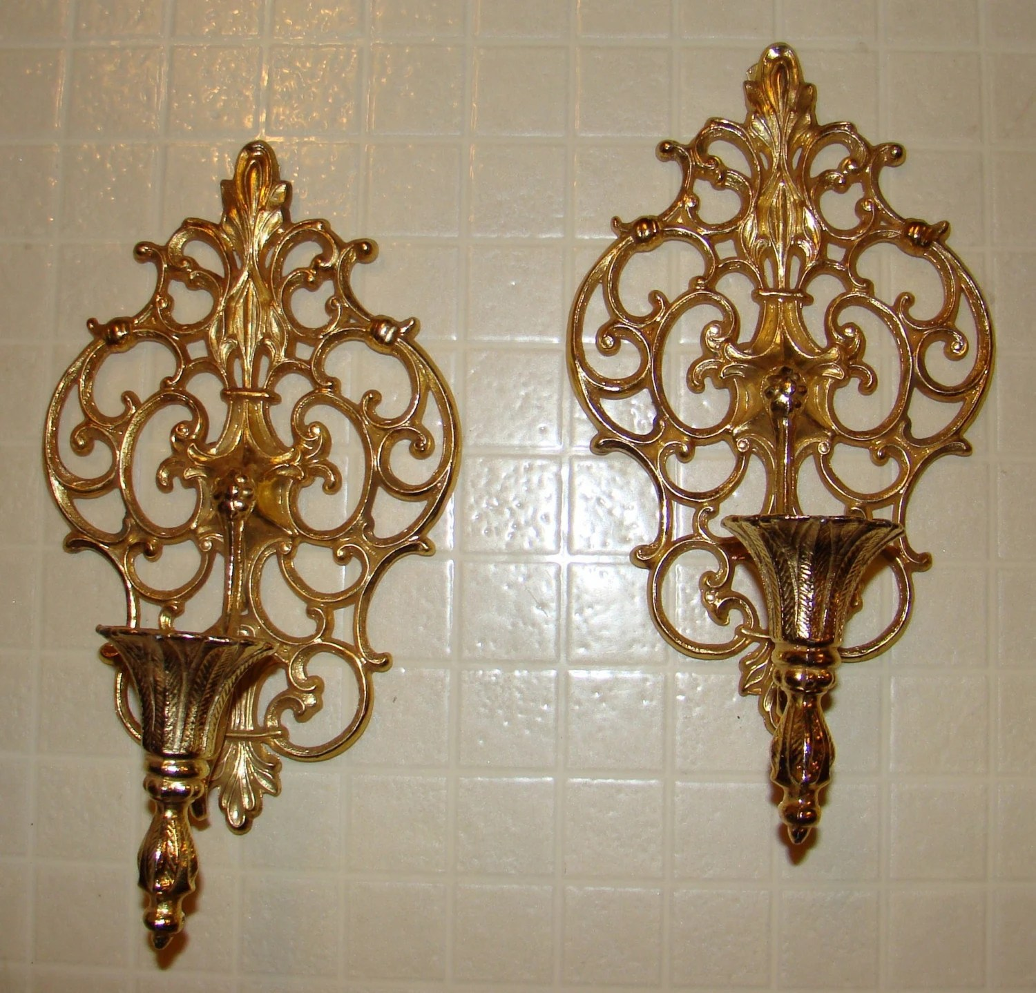 Best Vintage Pair Ornate Gold Tone Metal Wall Sconces Candle This Month