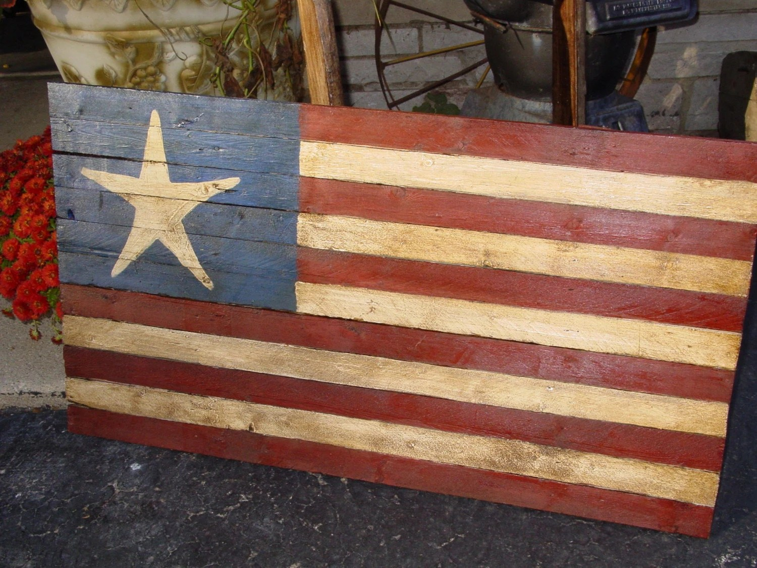 Best Primitive Decor Star American Flag 24 X 14 This Month