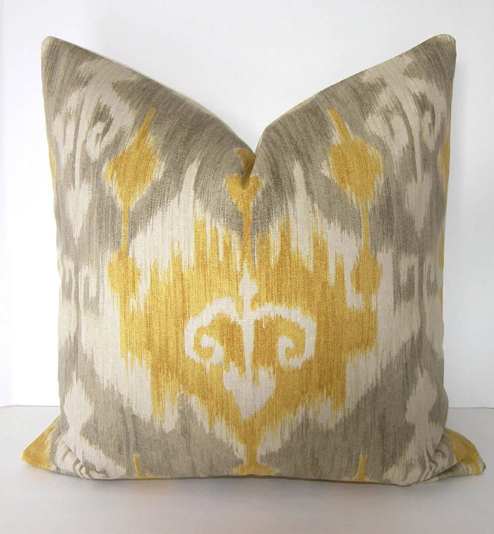 Best Ikat Decorative Pillow Cover 24X24 Inches Grey By Loubella1 This Month