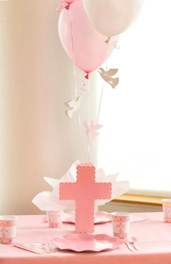 Best Baptism Cross Centerpieces For Girls Pink Cross Balloon This Month