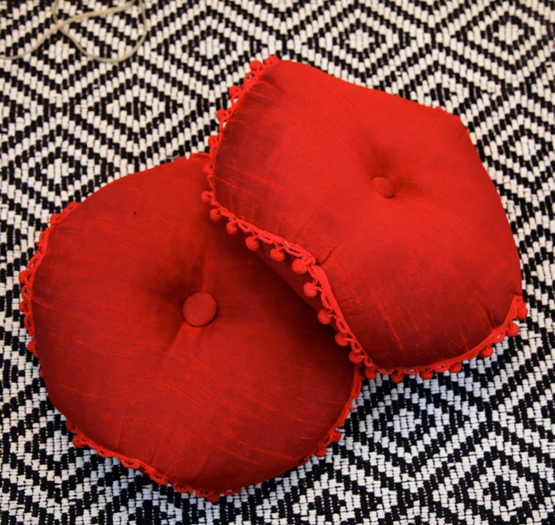 Best Set Of Two Vintage Round Red Throw Pillows By Caprockvintage This Month