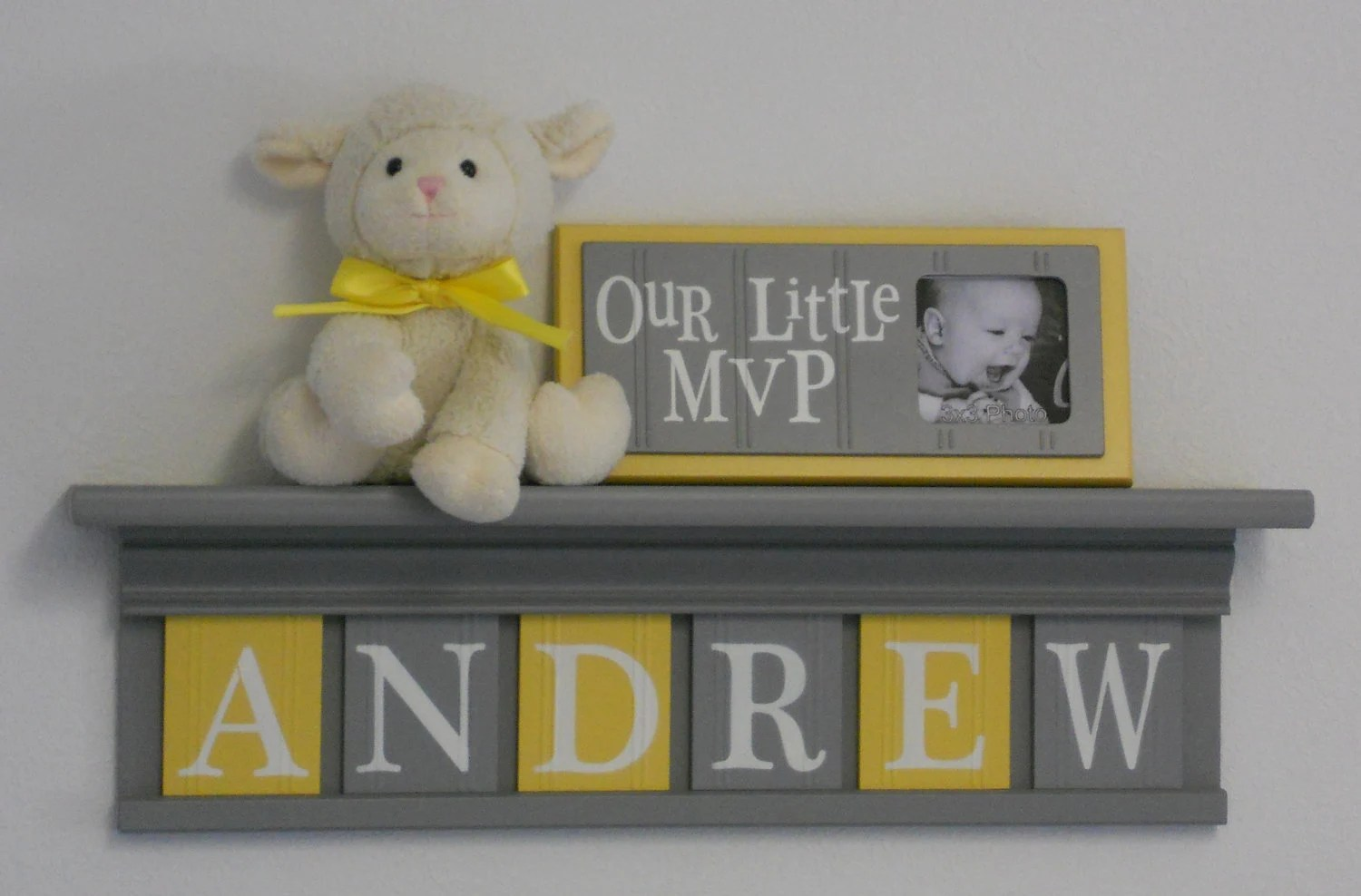 Best Baby Boy Room Decoration Name Nursery Decor Shelf Gray With This Month
