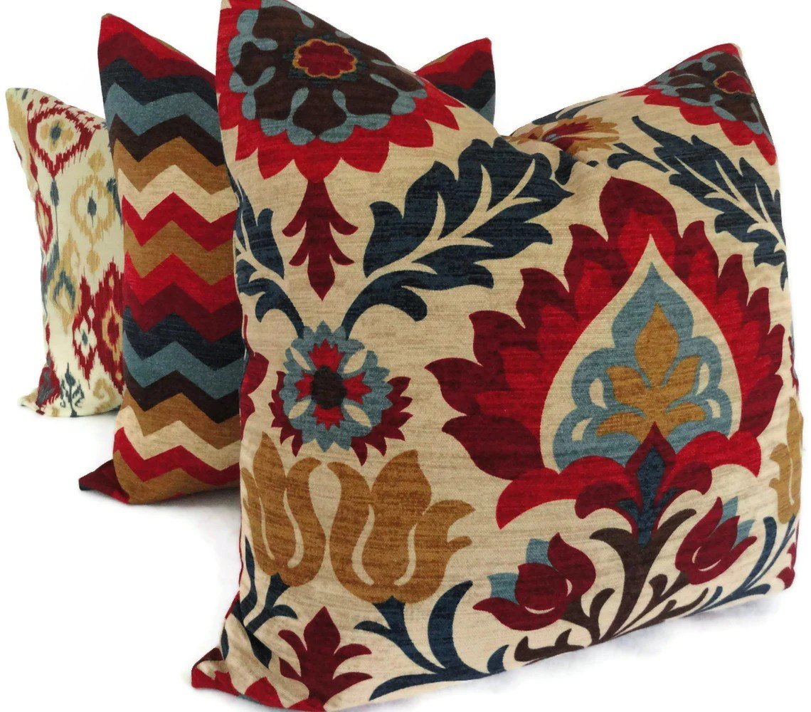 Best Blue And Red Floral Medallion Decorative Pillow Cover Square This Month