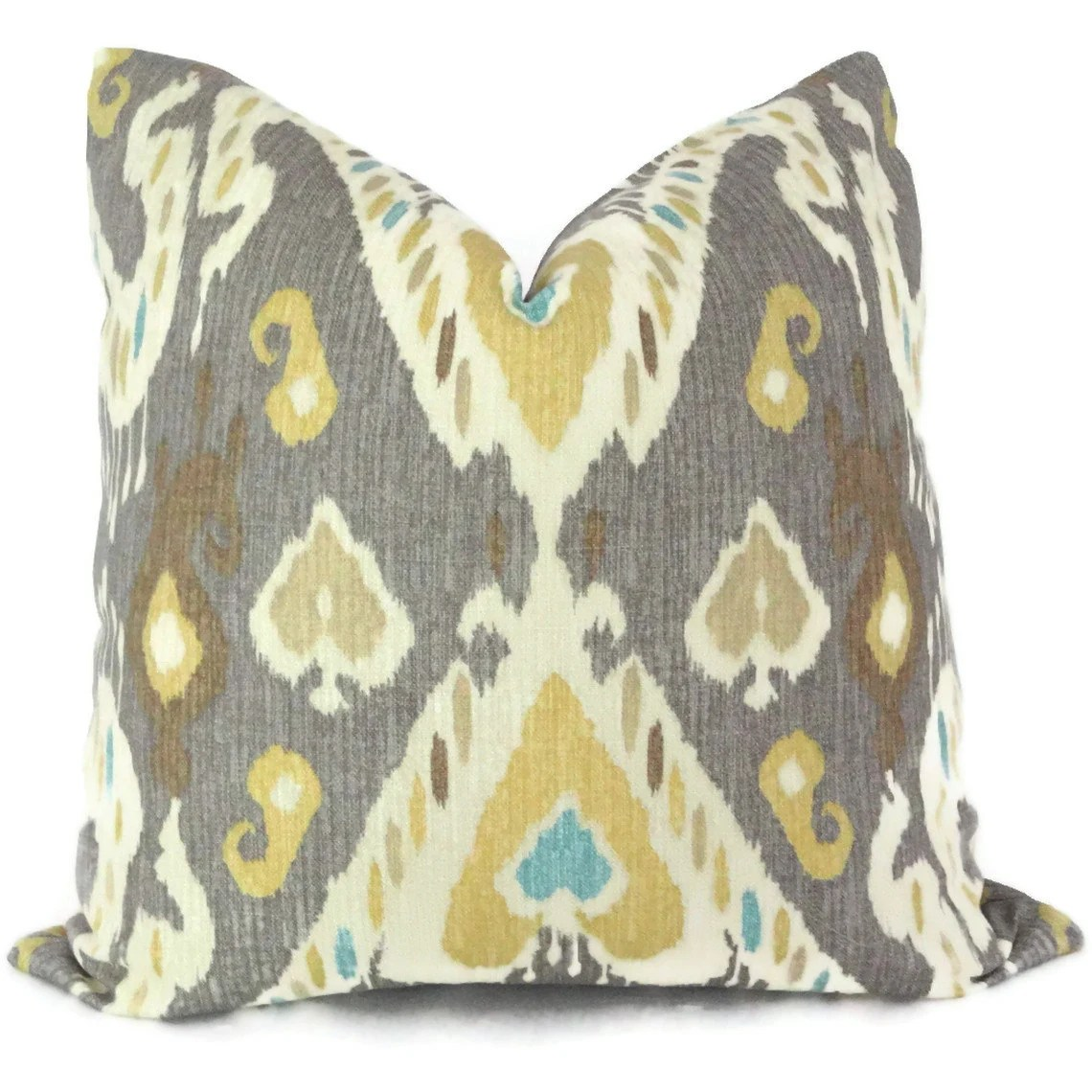 Best Yellow And Gray Ikat Decorative Pillow Cover Square By This Month
