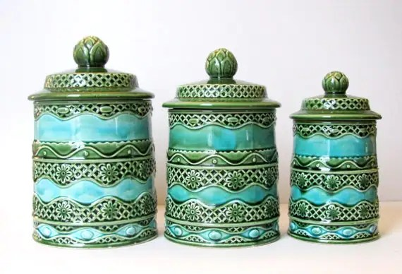 Best 3 Retro Kitchen Canisters Green Blue Kitchen Decor This Month