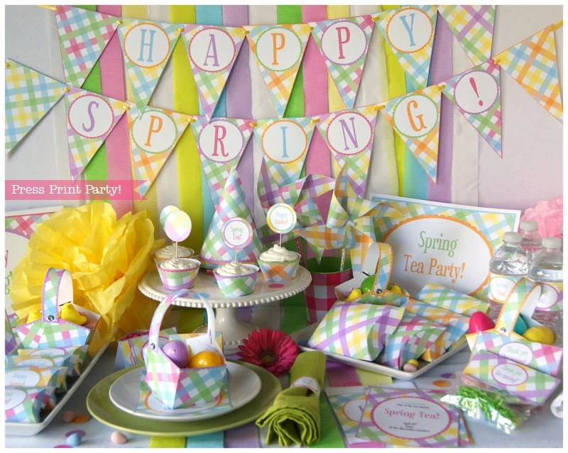 Best Spring Decorations Party Printables Gingham Easter Party This Month