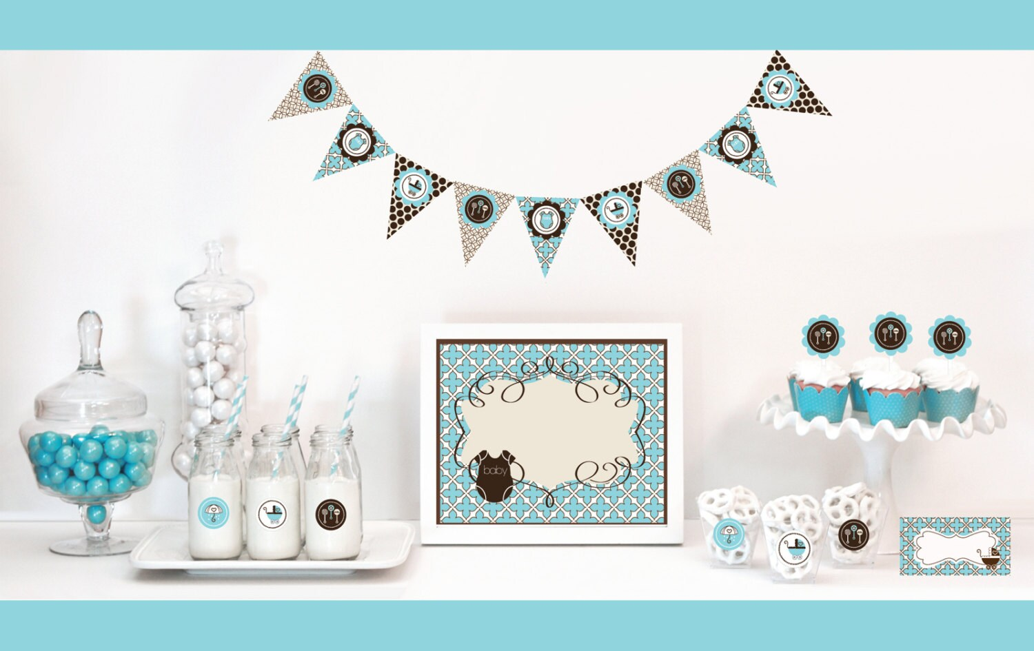 Best Blue And Brown Baby Shower Decorations Baby Shower By Modparty This Month
