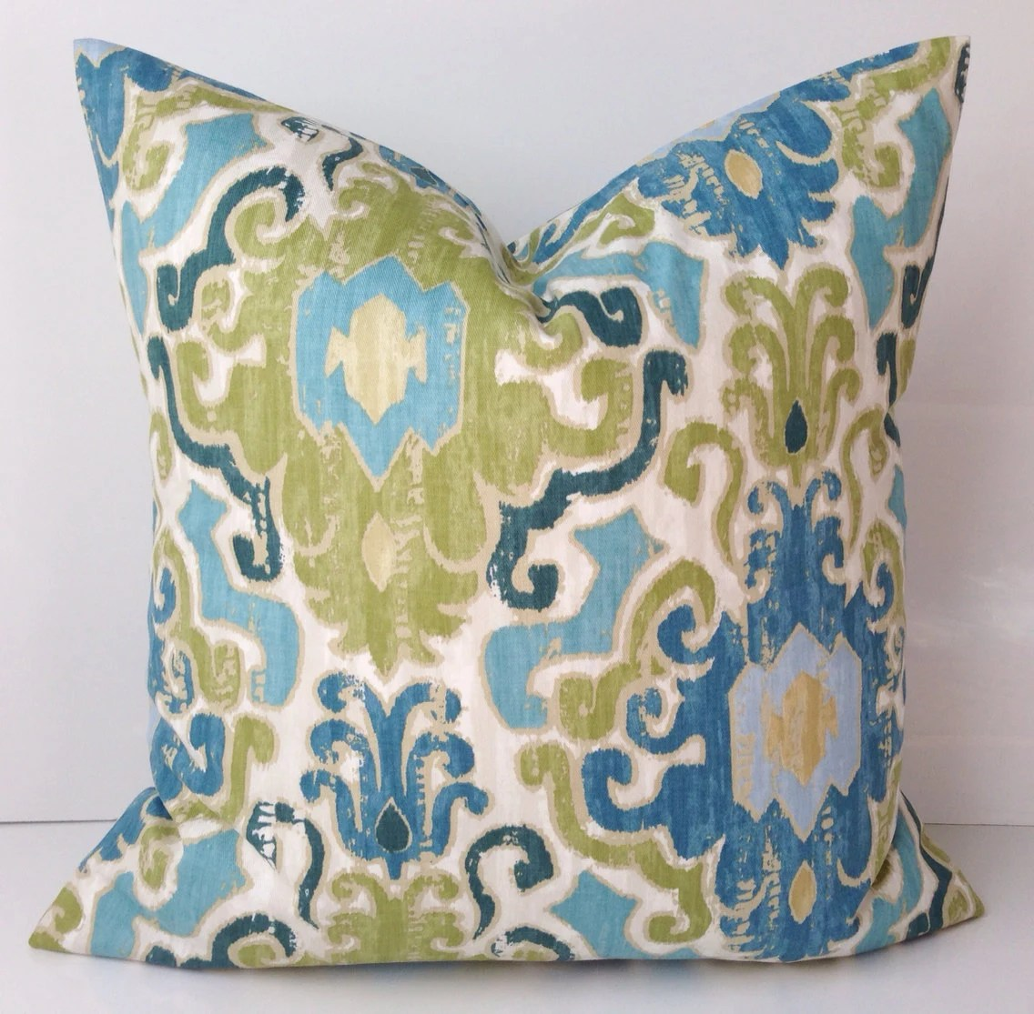Best Decorative Throw Pillow Cover Ikat Blue Green Pillow Accent This Month
