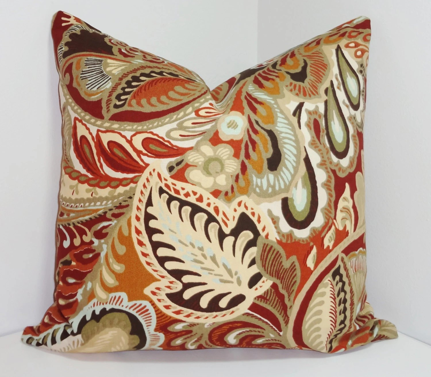 Best Decorative Pillow Large Floral Brown Blue Rust Gold By This Month