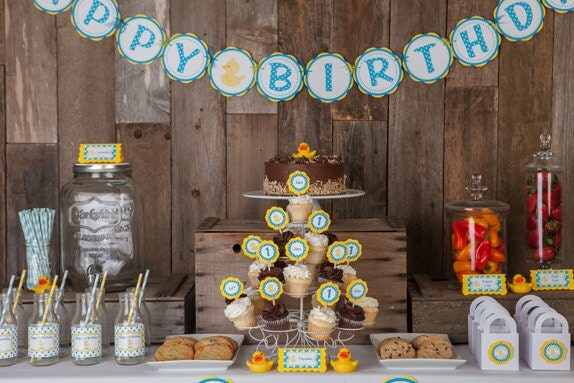 Best Rubber Duck Happy Birthday Banner Party Decorations Yellow This Month