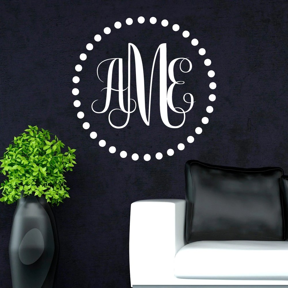 Best Monogram Wall Decal Personalized Initial Family Wall Decals This Month
