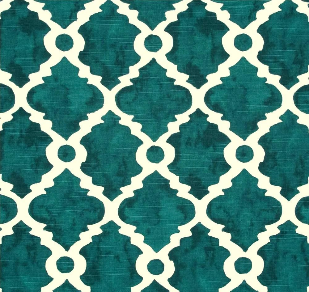 Best Fabric Teal Blue Green Geometric Home Decor Fabric By The This Month