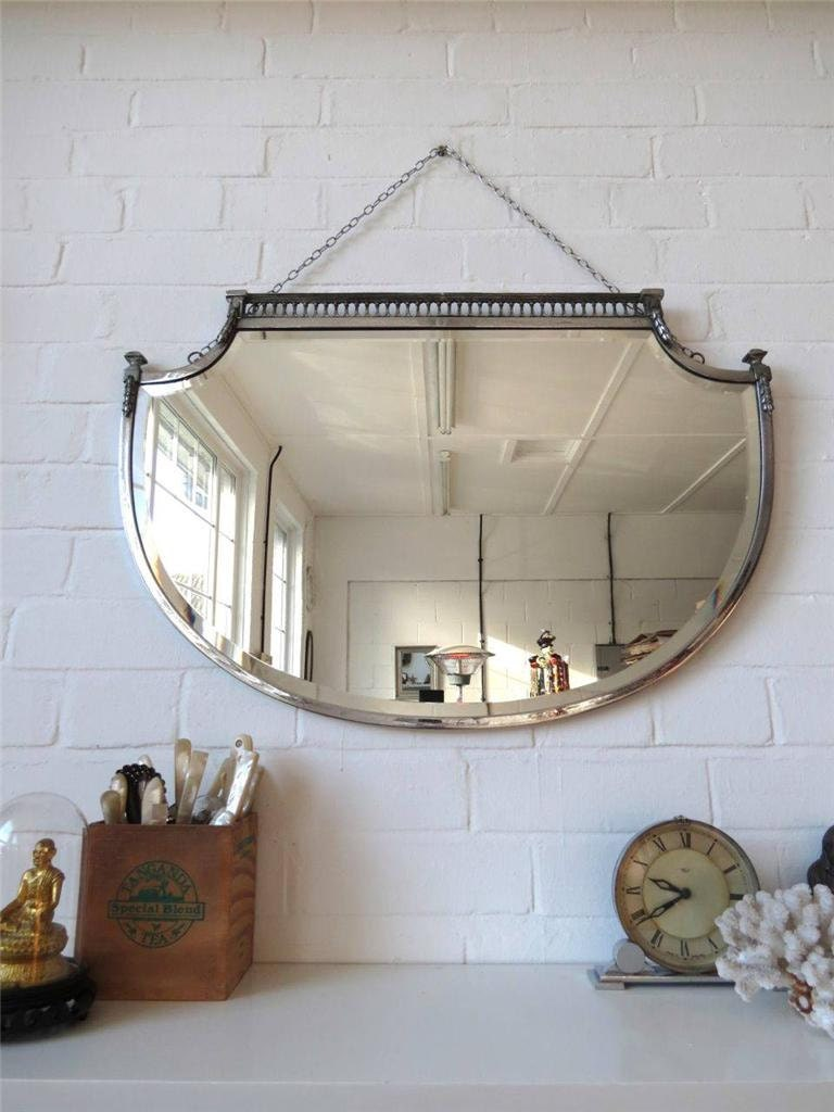 Best Vintage Large Art Deco Bevelled Edge Wall Mirror Lovely Shape This Month