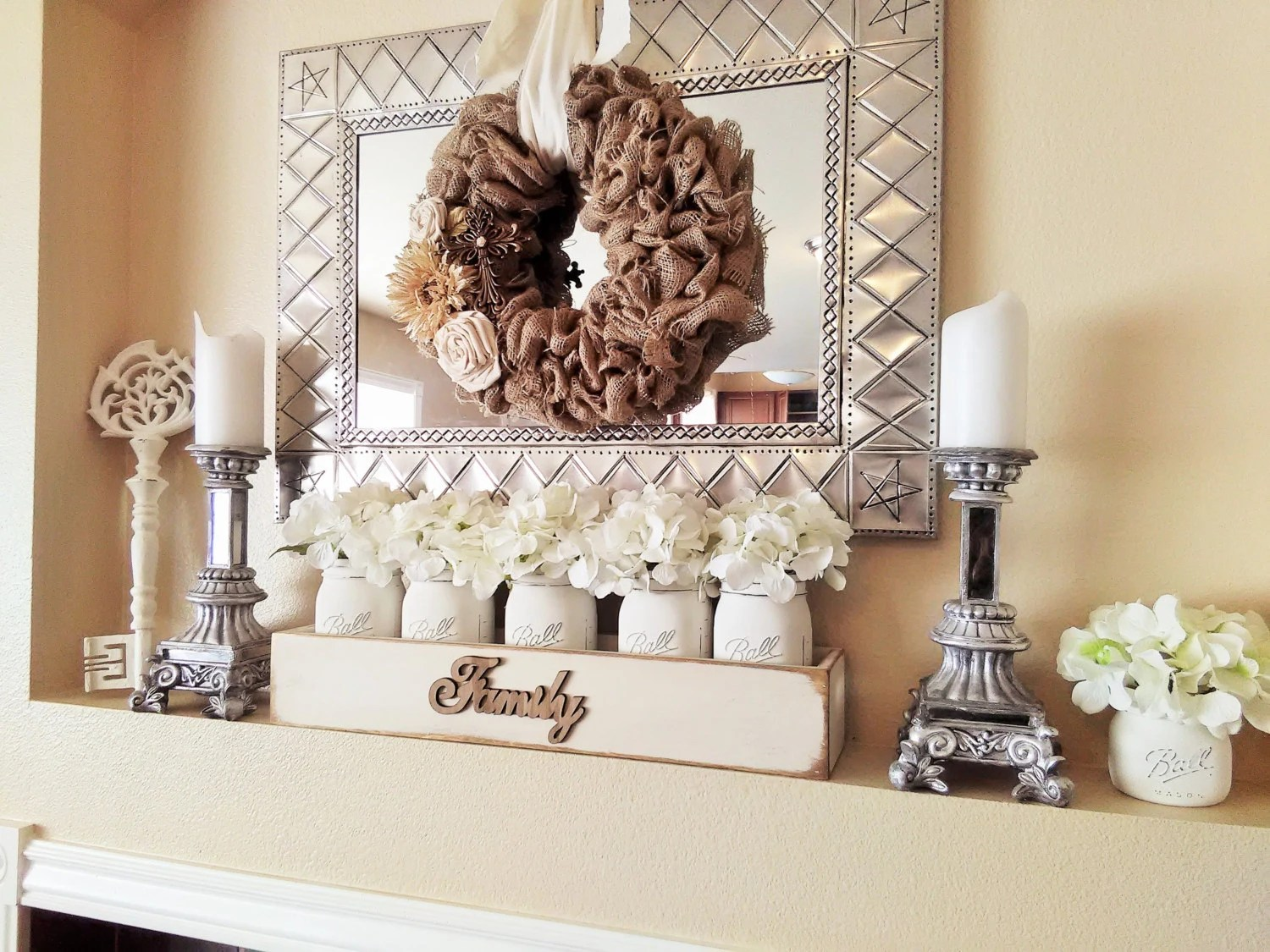 Best Large Wood Box With Mason Jars Mantle Decor Table Decor This Month