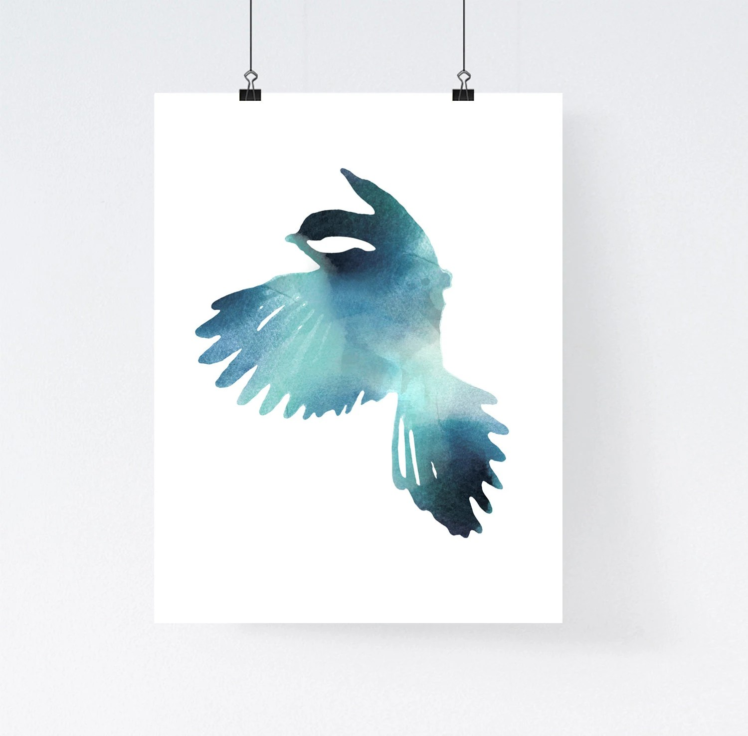Best Blue Bird Art Print Watercolor Home Wall Decor Apartment This Month