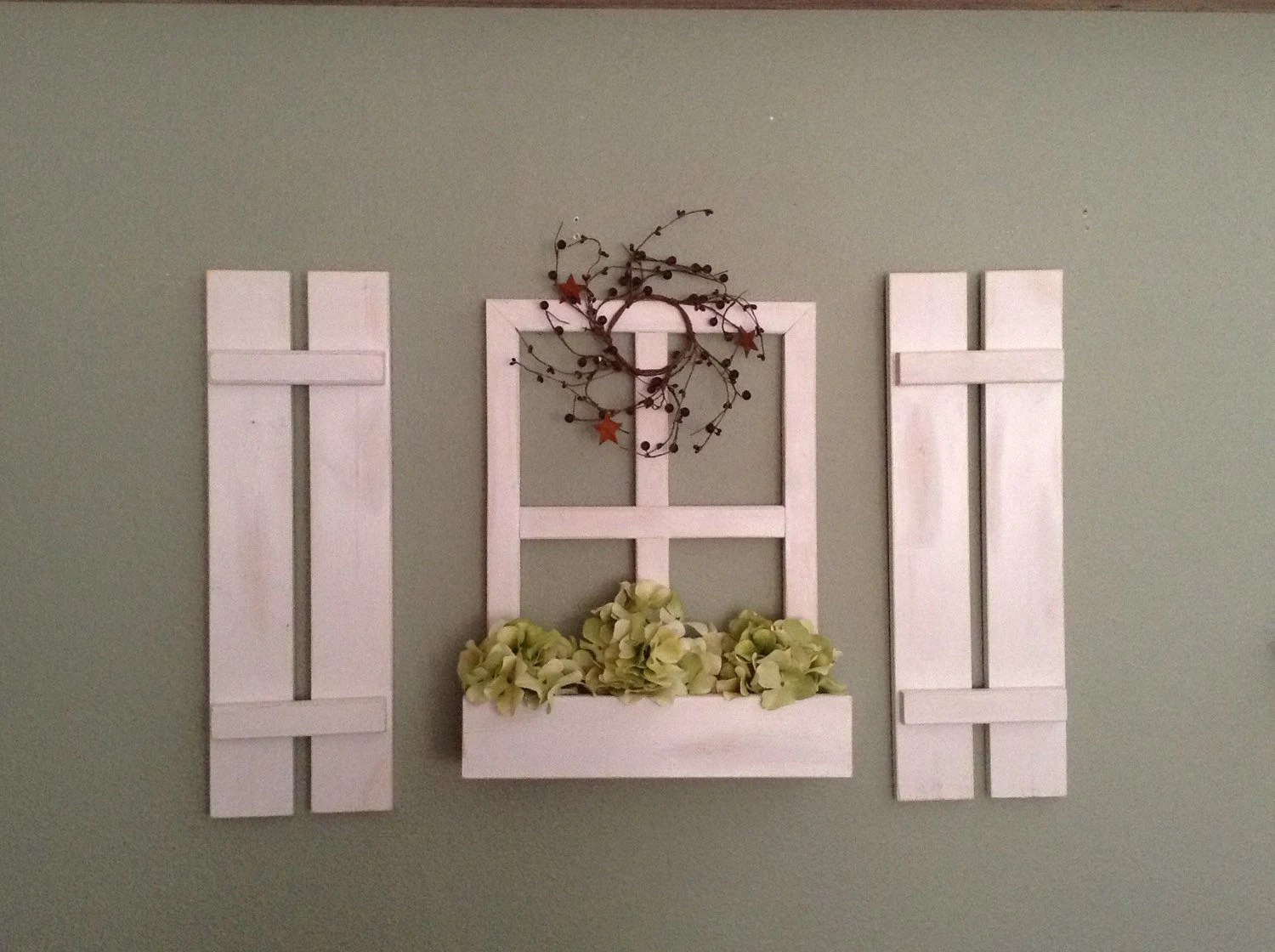 Best Faux Window With Flower Box And Shutter Set Wall Decor This Month