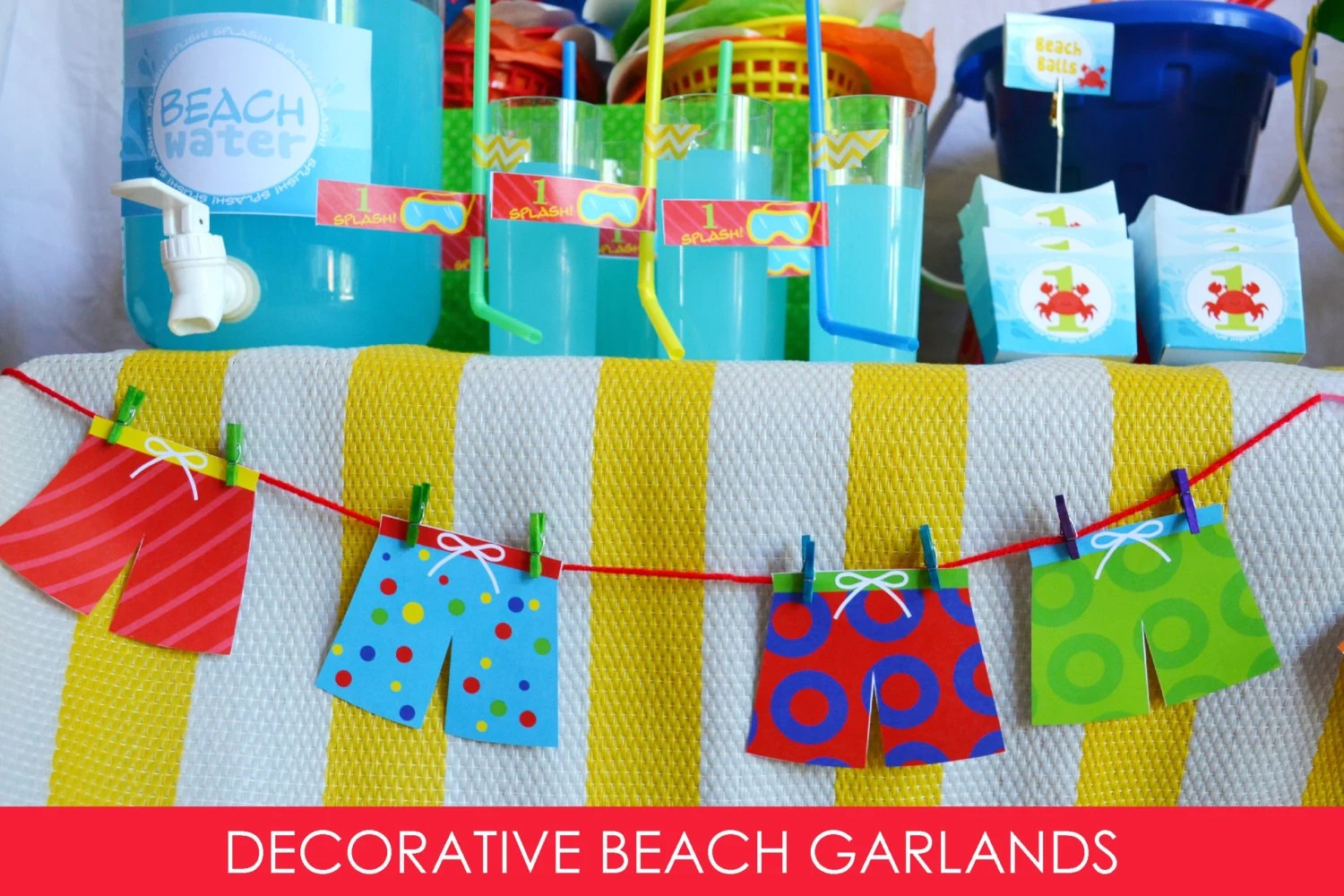 Best Beach Ball Banner Garland Swim Trunk Garland Pool Party This Month