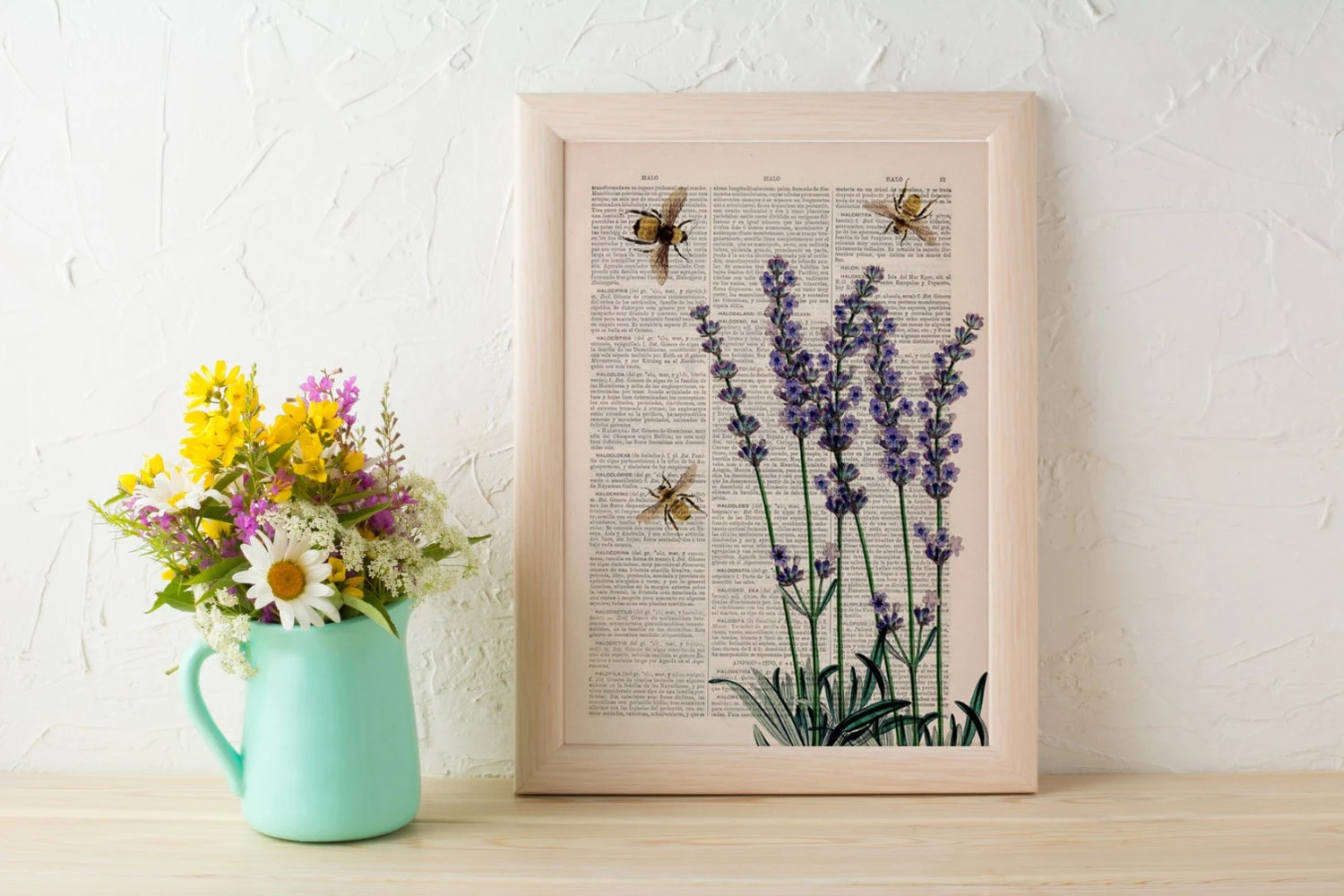 Best Wall Art Home Decor Bees With Lavender Flowers Dictionary Art This Month