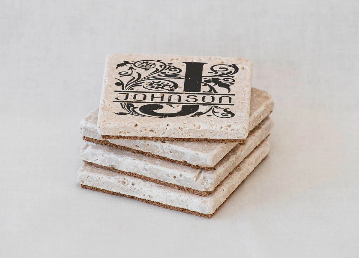 Best Custom Drink Coasters Last Name Coasters Personalized Tile This Month