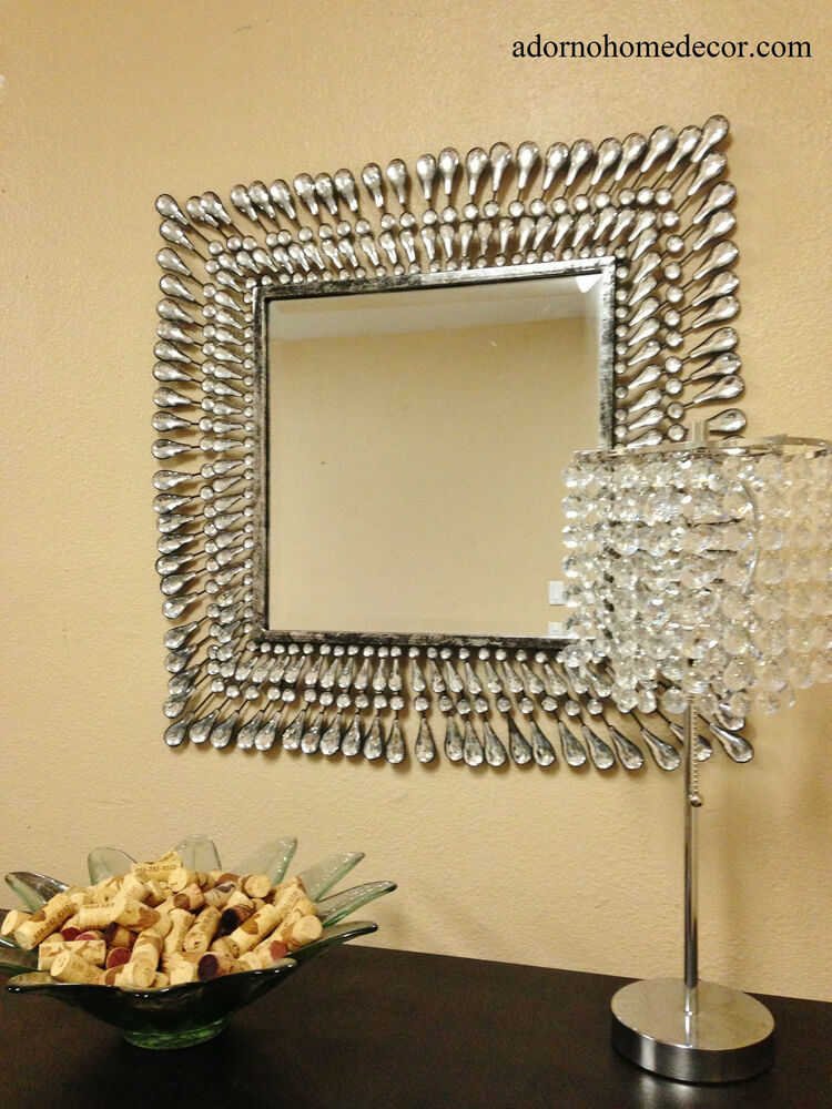 Best Metal Wall Square Crystal Mirror Rustic Modern Crystal This Month