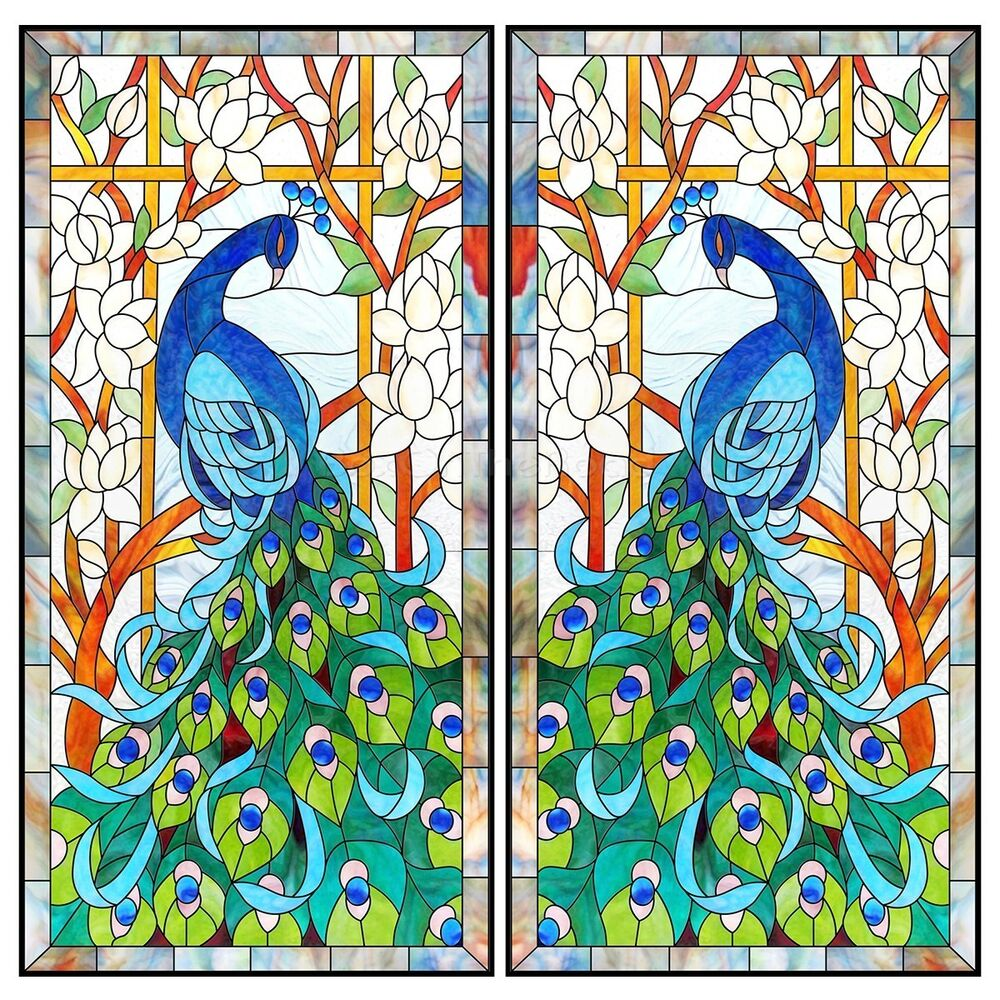 Best Flowers Peacock Stained Decorative Glass Frosted Window This Month