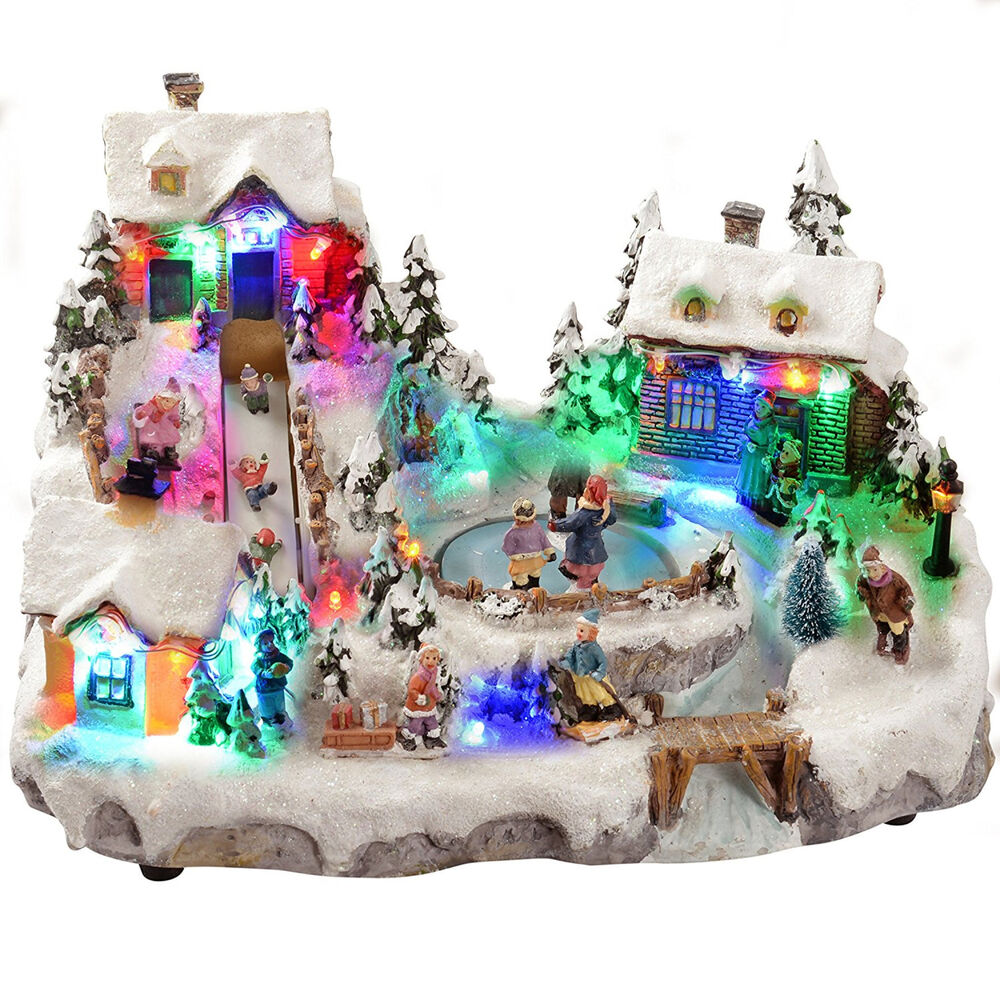Best Animated Christmas Village Ice Rink Slide Colourful Led This Month