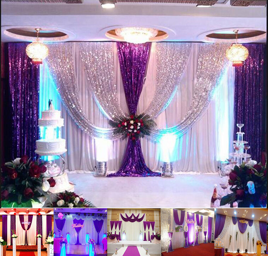 Best 20X10Ft Wedding Backdrop Curtain Purple Decor Sparkly This Month