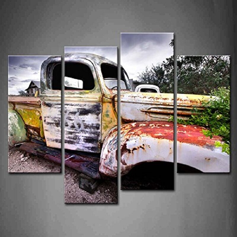 Best 4 Panel Wall Art Classic Vintage Painting Canvas Car This Month