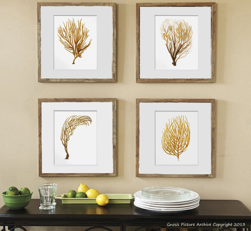 Best Beach Wall Art Set Of 4 Unframed Sea Coral Prints Nautical This Month