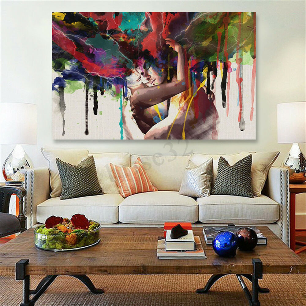 Best 45X30Cm Abstract Couple Canvas Painting Print Art Picture This Month