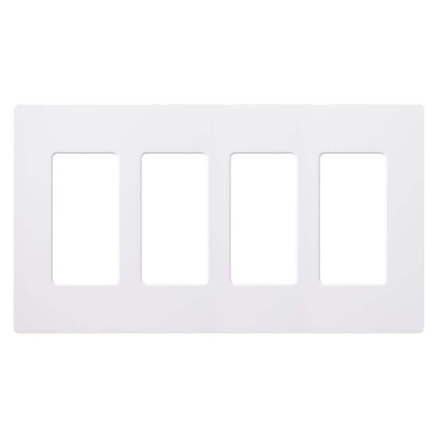 Best Shop Lutron Claro 4 Gang White Gloss Quad Decorator Wall This Month