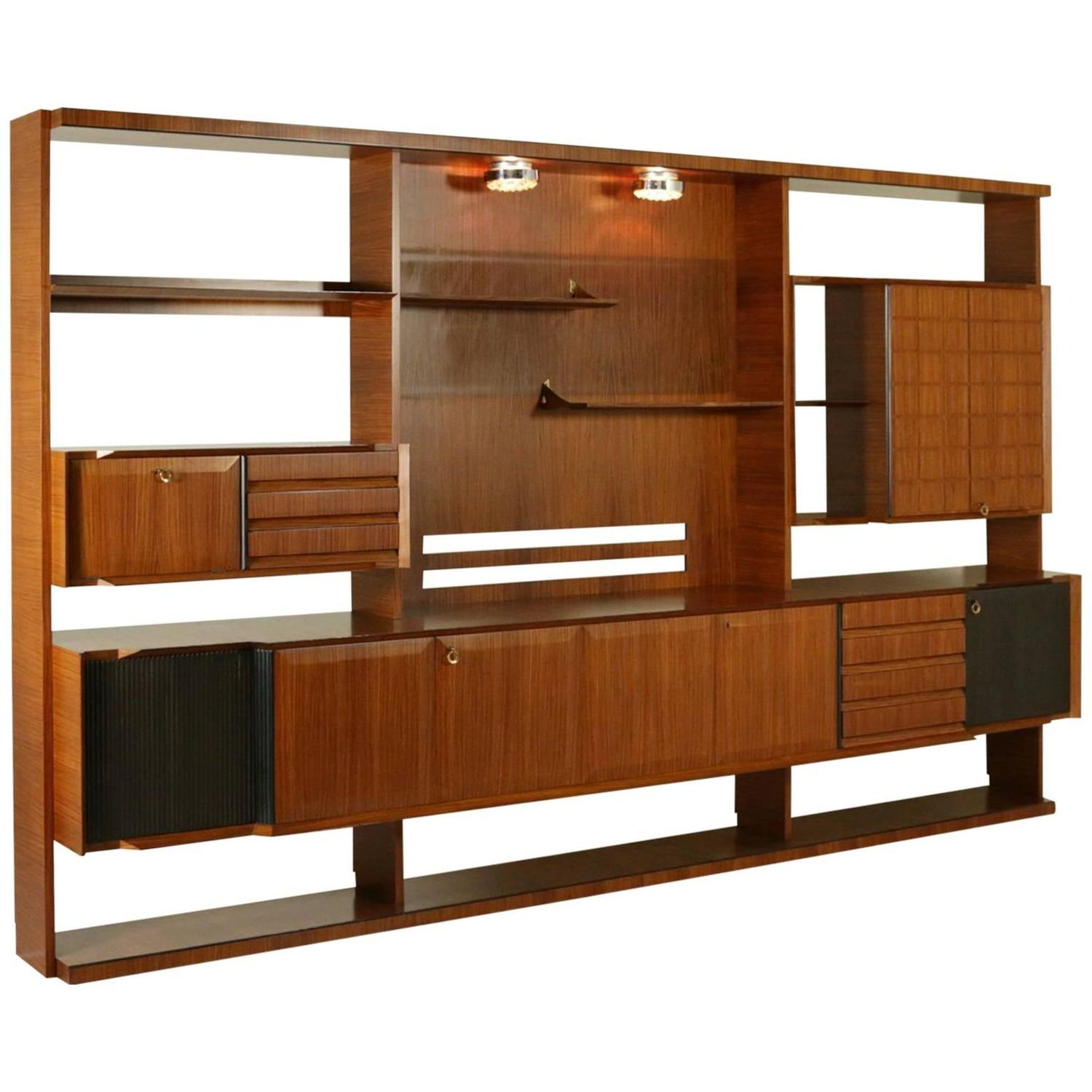 Best Italian Design Mid Century Modern Wall Unit In Rosewood This Month