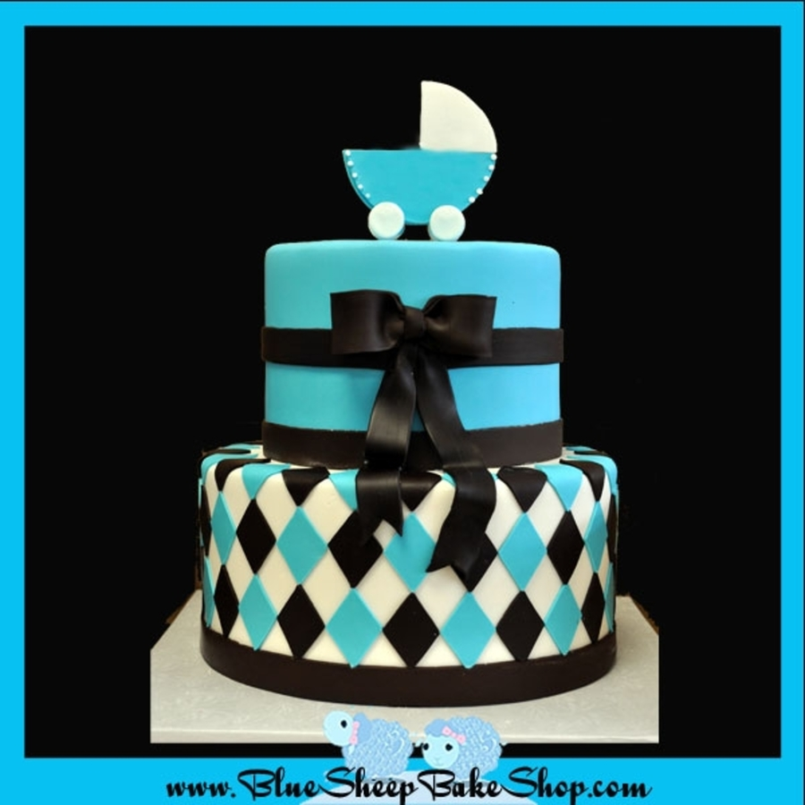 Best Brown And Blue Baby Shower Cake Cakecentral Com This Month