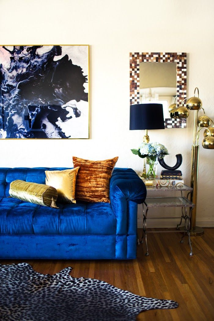Best Transitioning Into Fall At Home Velvet Blue Sofa And This Month
