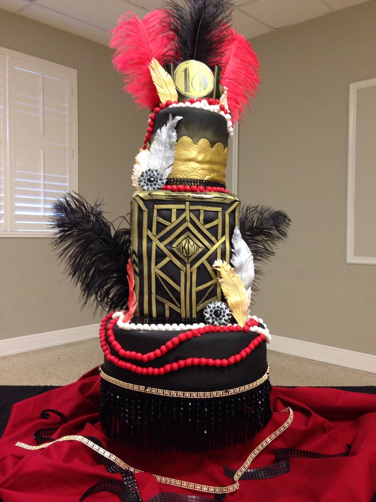 Best Great Gatsby Cake Sweet 16 Birthday Black Gold And Red This Month