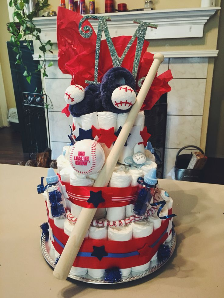 Best Diaper Cake For A Baseball Themed Baby Shower Diapercake This Month