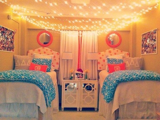 Best Dorm Room Hanging String Lights Across Ceiling Pink And This Month