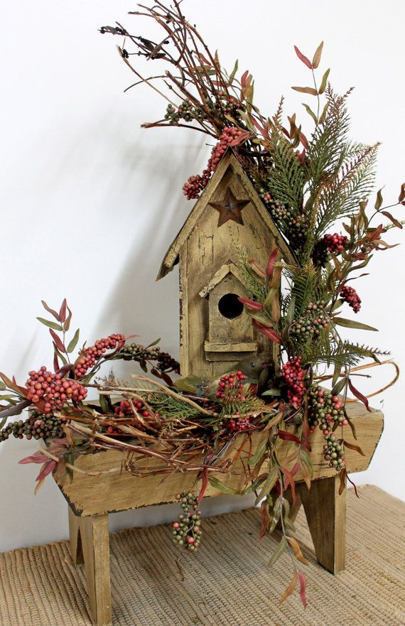 Best Fall Decor Country Floral Birdhouse Bench Rustic Floral This Month
