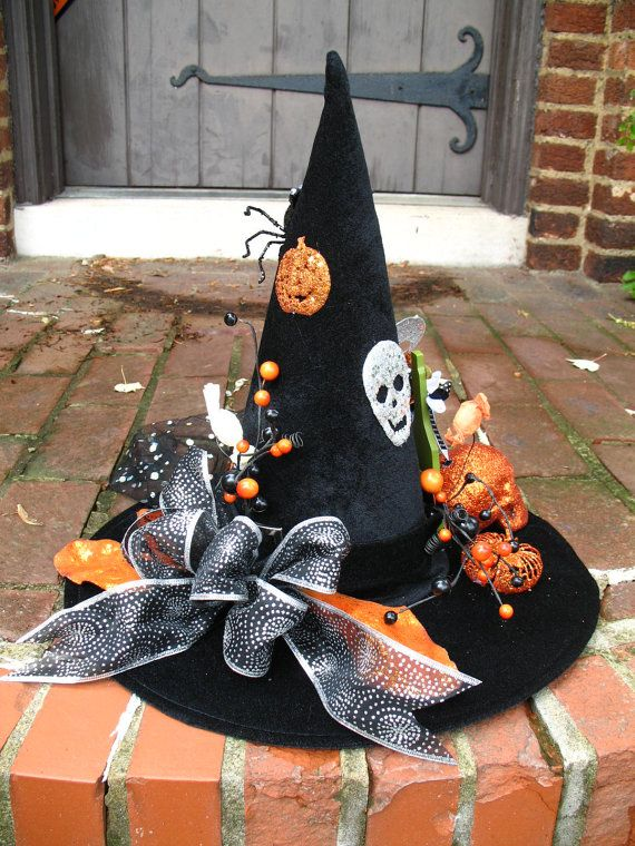 Best Orange And Black Happy Halloween Witches Hat Table This Month