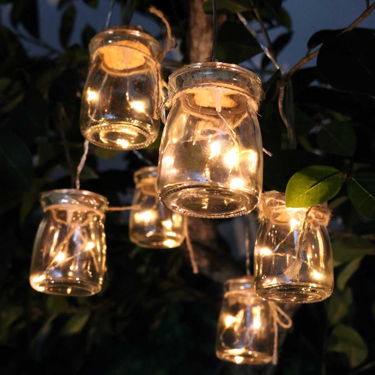 Best Clear Glass Jar Light Decor W 3 Led Lights Set Of 6 This Month
