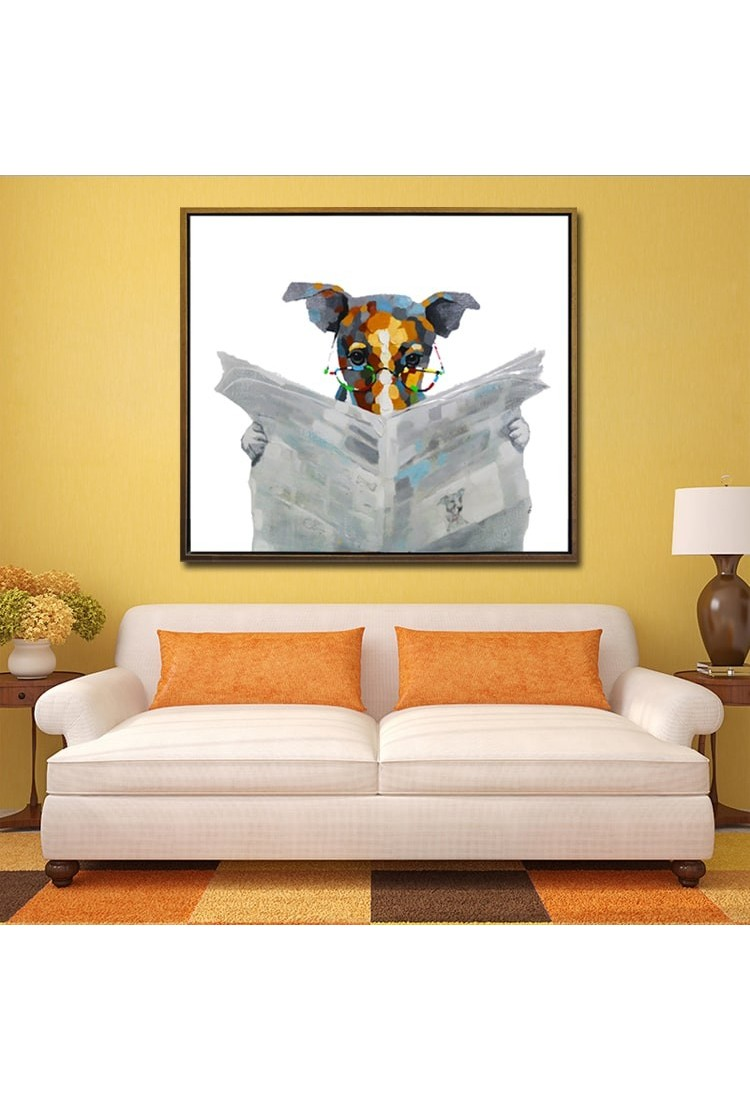 Best Reading Dog Hand Painted Modern Home Decor Wall Art Oil This Month