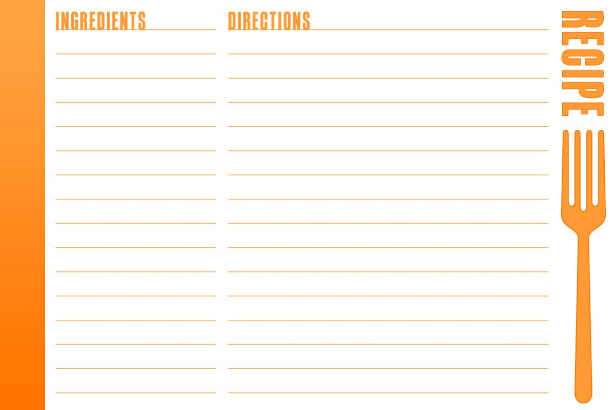 full page recipe template word